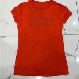 Armani Exchange Orange Red Logo Short Sleeve Shirt